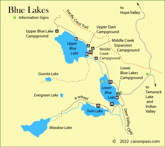 map of Blue Lakes area  on Carson Pass, CA