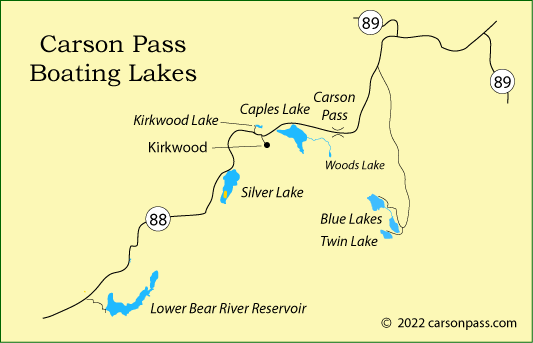 map of boating lakes on Carson Pass, CA