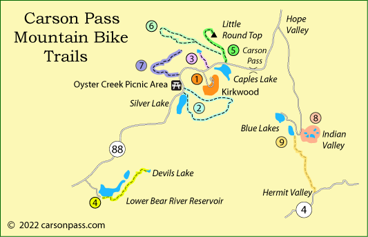 map of mountain biking routes on Carson Pass, CA