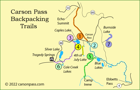 map of backpacking trails on Carson Pass, CA