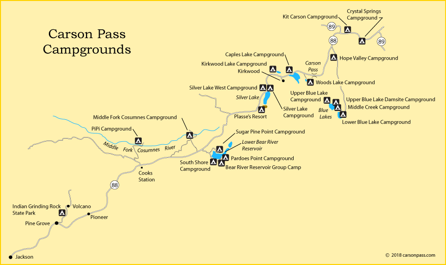 map of campgrounds along Carson Pass, Highway 88, CA