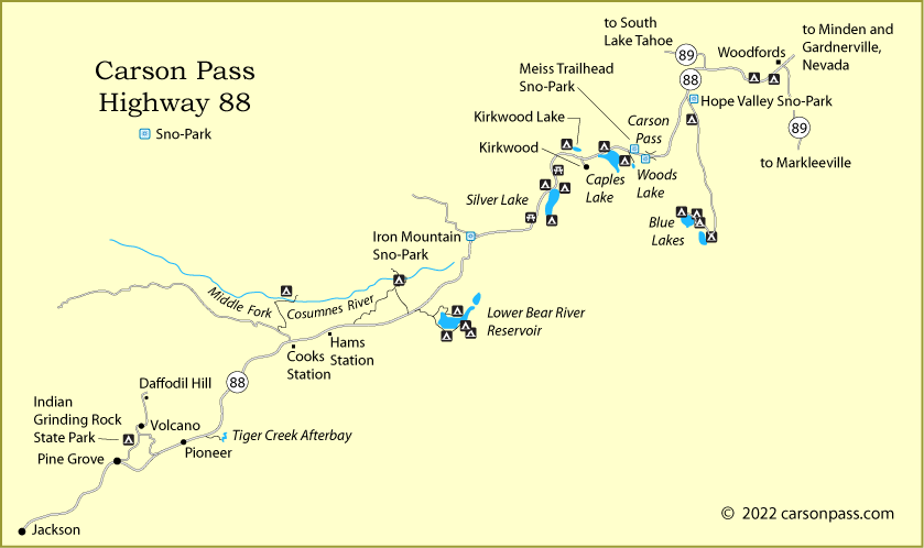 map of Carson Pass, Highway 88