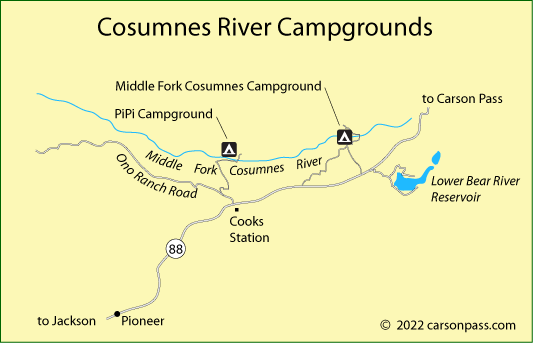 map of Cosumnes River campgrounds off Carson Pass, CA