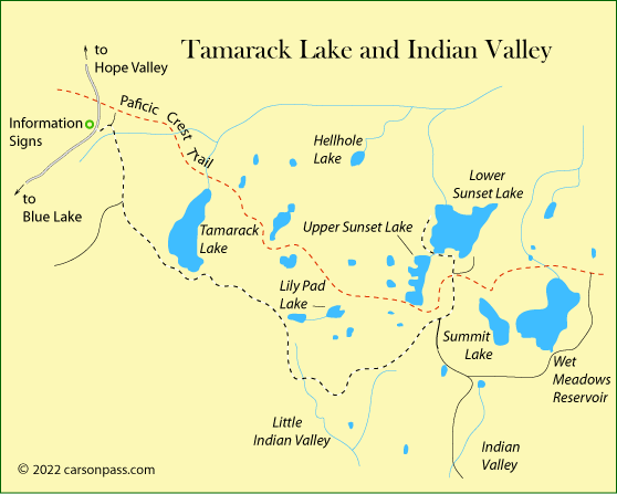 map of Tamarack Lake and Indian Valley area  on Carson Pass, CA