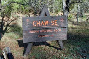 sign at entrance to Indian Grinding Rock State Historic Park